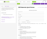 OER Materials Quick Review