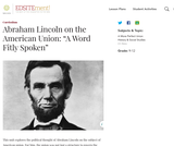 "Abraham Lincoln on the American Union: ""A Word Fitly Spoken"""