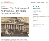 Lesson 2: The First Inaugural Address (1861): Defending the American Union