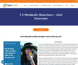 7.3 Metabolic Reactions