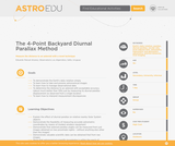 The 4-Point Backyard Diurnal Parallax Method
