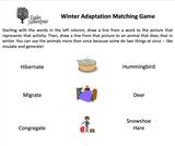 Ogden Nature Center: Winter Adaptations Matching Game