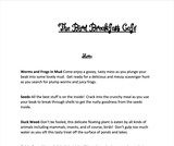 Ogden Nature Center: Bird Breakfast Cafe Menu