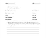 Ogden Nature Center: Bird Breakfast Cafe 3rd Grade Worksheet